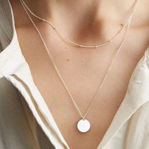 Jewelry - Double Layer Circle Disc Choker Necklace